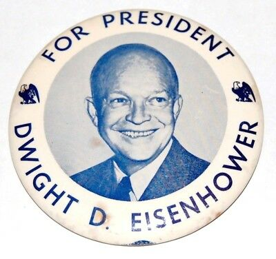 """1952 DWIGHT EISENHOWER IKE 3.5"""" campaign pin pinback button political president"""