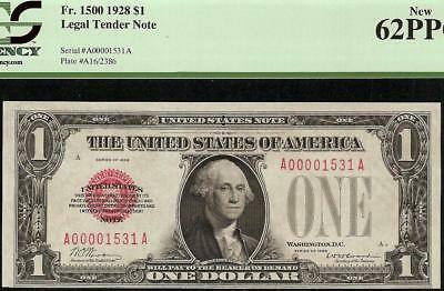 UNC 1928 $1 DOLLAR LOW 1531 RED SEAL LEGAL TENDER FUNNYBACK NOTE Fr 1500 PCGS 62