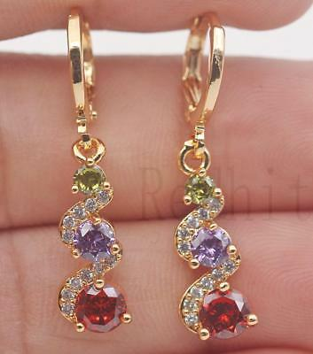 18K Gold Filled - 1.2'' Swirl Round Amethyst Ruby Topaz Cocktail Dangle Earrings