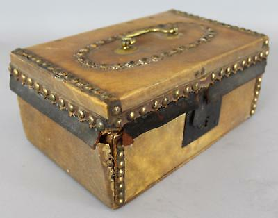 Small Antique 19thC Western Cow Hide & Brass Tacks Travel Trunk, Boston Label