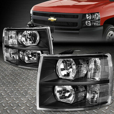 For 2007-2014 Chevy Silverado Pair Black Housing Clear Side Headlight/lamp Set
