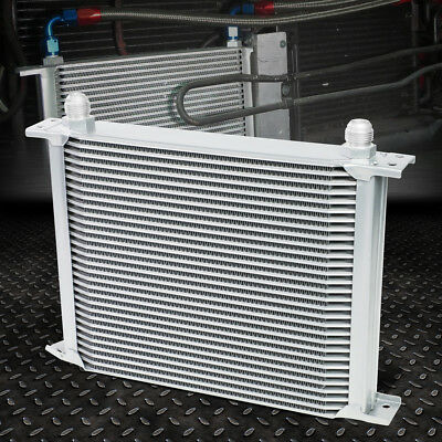 30-Row 10An Powder-Coated Aluminum Engine/transmission Racing Oil Cooler Silver