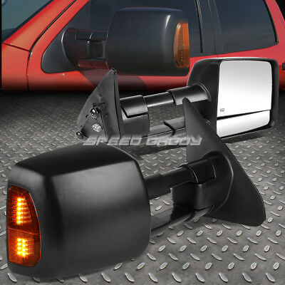 For 07-16 Tundra Pair Power+Heat Black Towing Side Telescoping Mirror+Led Signal