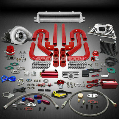 T04 .63Ar 400Hp+16Pc Turbo Charger+Manifold+Intercooler Kit For 200Sx/S13 Ca18De