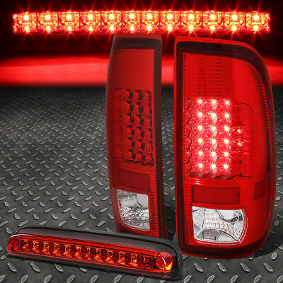 For 08-16 Ford Super Duty Pair Full Led Tail Light+Third Brake Lamp Chrome/red
