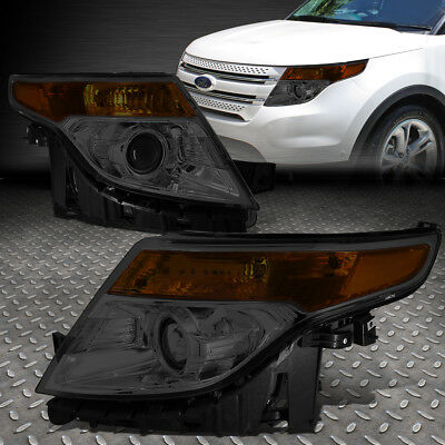 For 2011-2015 Ford Explorer Smoked Housing Amber Corner Projector Headlight