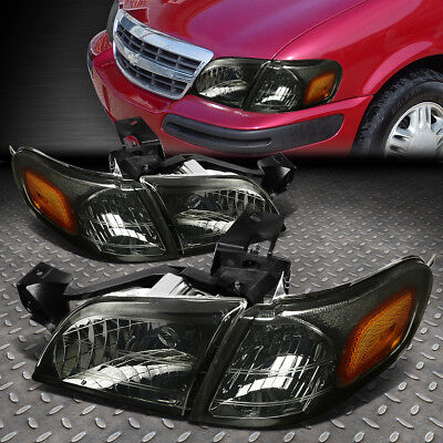 For 1997-2005 Chevy Venture Smoked Housing Headlight+Amber Side Turn Signal Lamp