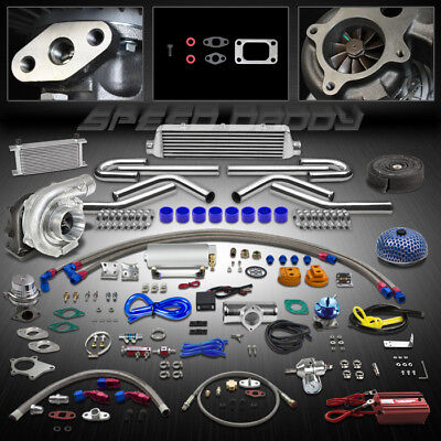 T04E 23P T3/T4 Turbo Kit Turbocharger+Intercooler+Wastegate+Bov+Oil Cooler+Gauge