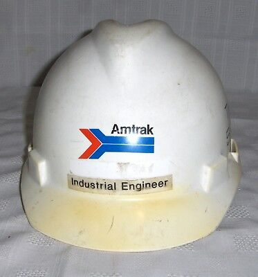 "Amtrak White Think Safety ""Industrial Engineer"" 1986 Men's Medium Hardhat"