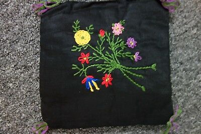 "1920's Embroidered Black PILLOW- 7""x7""-Flower Bouquet- VG- ROMANTIC WHIMSY- SALE"