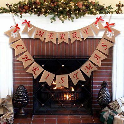 Merry Christmas Jute Burlap Bunting Banner Flags Garland Christmas Party Decor