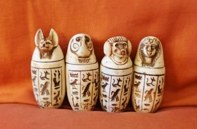 Antique Collection Set Of 4 Egyptian Ancient Canopic Jars Organs Storage Statues