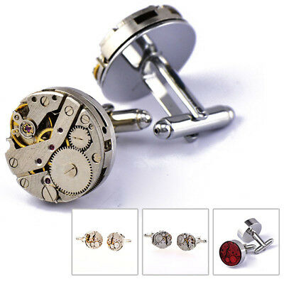 Lovely Pair Vintage Watch Movement Cufflinks Wedding Party Man Steampunk Gift