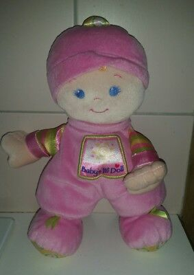 FISHER PRICE BABY'S FIRST DOLL. CUTE BABY 1st DOLL TOY RATTLES! 28CM TALL!