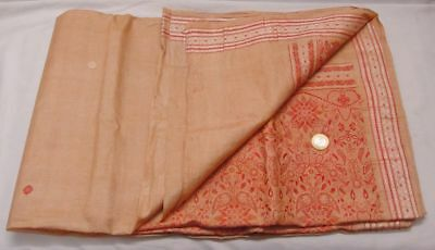 Antique Vintage Floral Woven Weaving Pure Silk Saree Two Color Heavy Indian Sari