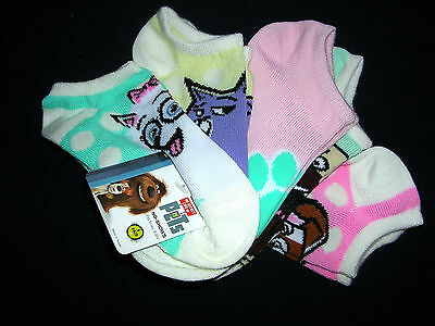 THE SECRET LIFE OF PETS Girls' 5-Pack No Show Socks - SIZE  6-8.5 NWT