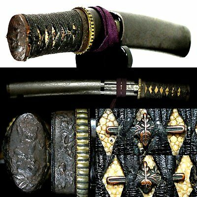 622 Japanese Samurai Edo Antique Excellent Tanto sword Koshirae with ware Kogai