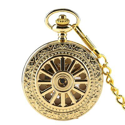 Fashion Wheel Hollow Gold Roman Number Mechanical Pocket Watch With Chain Fob