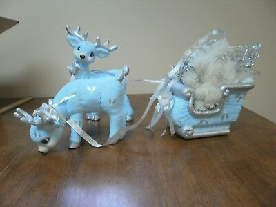 3 Piece Set VINTAGE KIMPLE MOLD CERAMIC HAND PAINTED CHRISTMAS REINDEER AND SLED