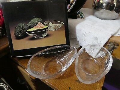 2 Dartington Handmade Glass Advocado Dishes Boxed Frank Thrower 3 Sets Available British