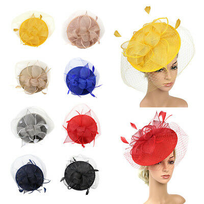 5dbf582abce Fashion Sinamay Hat Feather Headband Fascinator Veil Wedding Royal Ascot