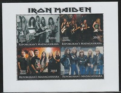 Madagascar 7759 - 2018  IRON MAIDEN  perf sheet of 4 unmounted mint