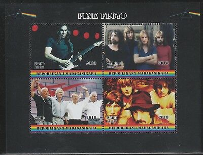 Madagascar 7761 - 2018  PINK FLOYD  perf sheet of 4 unmounted mint