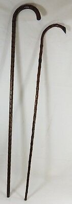 Pair of Vintage Antique Walking Canes/Sticks One with Silver Collar