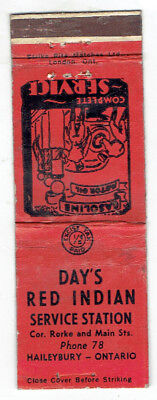 Day's Red Indian Service Station Matchbook Cover - Haileybury Ontario