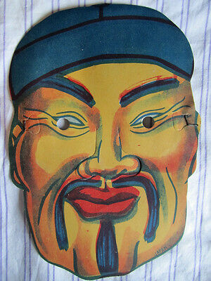 """1940's Vintage Grocery Store HALLOWEEN PAPER MASK JAPAN """"CHINA MAN"""" NEW UNUSED"""