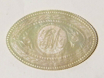 c1860 GM Initials Chinese Hand Carved Mother of Pearl Gaming Counter OVAL #5 *