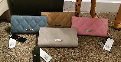 Nicole Miller Quilted Bifold Clutch Wallet *Choice of 4 Colors* Silver Accents