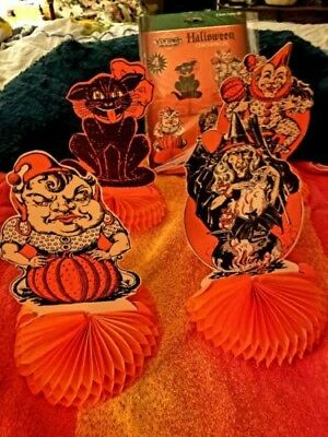 Just Out-4Beistle Vintage 1929-30 Repro-Centerpieces-Black Cat-Clown-Gypsy-Witch