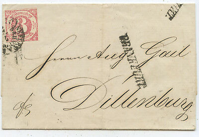 AD Thurn & Taxis Bahnpost Brief Frankfurt Dillenburg 1865