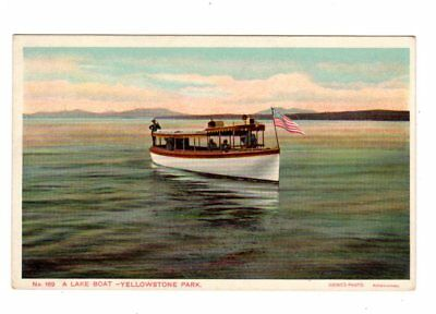 Old Postcard Boat Lake Yellowstone National Park