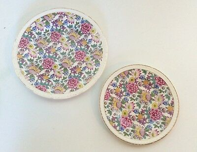 2 ROYAL TUDOR WARE Barker Bros CHINTZ Floral Gold Band Lunch Salad PLATE LOT