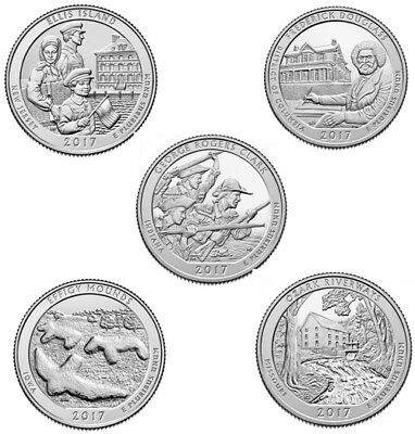 US State Park Quarters - 2017 Full Set 5-15 Coins - P/D/S Uncirculated, UK Stock