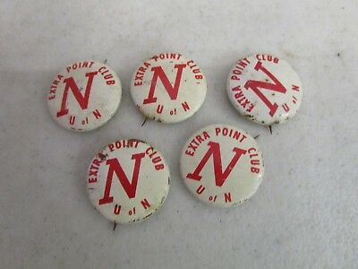 Vtg. Lot of (5) 1950's UNIVERSITY OF NEBRASKA FOOTBALL EXTRA POINT CLUB PINBACKS