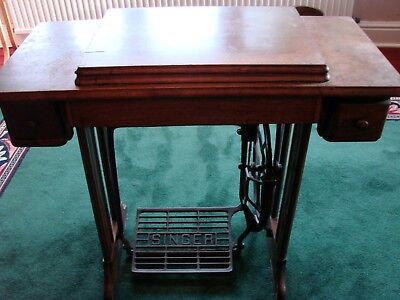 Vintage Singer treadle sewing machine table only,cast iron base two drawers