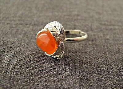 Vintage 70 Amber Genuine Agate Semiprecious Stone Metal Adjustable Ring Unused´
