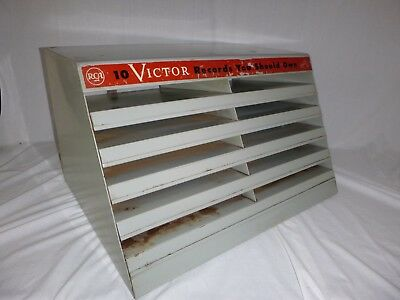 Vtg RCA Victor Metal Store Display Rack for 78 RPM Records Advertising