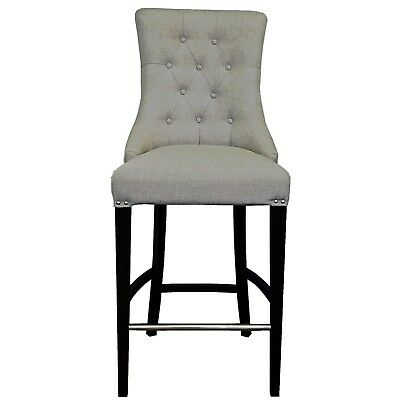 Pebble Grey Fabric Tufted Counter Stool w/Brushed Silver Nail Head