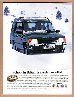 """1996 Land Rover Discovery Ad """"School in Britain is rarely cancelled"""" Print Ad"""