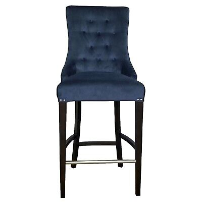 Blue Velvet Fabric Tufted Counter Stool w/Brushed Silver Nail Head Trim