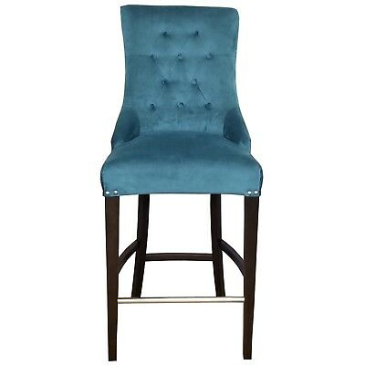 Sea Green Velvet Fabric Tufted Counter Stool w/Brushed Silver Nail Head Trim