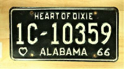 1966 Vintage Alabama Heart Of Dixie License Plate Auto Car Vehicle Tag Item 1126