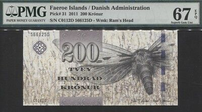Tt Pk 31 2011 Faeroe Islands / Danish Administration 200 Kronur Pmg 67Q Superb!