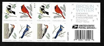 #5317-5320/5320B Birds in Winter - (forever) 2018 Issue - MNH Booklet Pane of 20