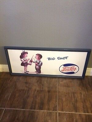 1940's Pepsi Cola Big Shot Whitney Darrow Jr. Bus Trolley Sign