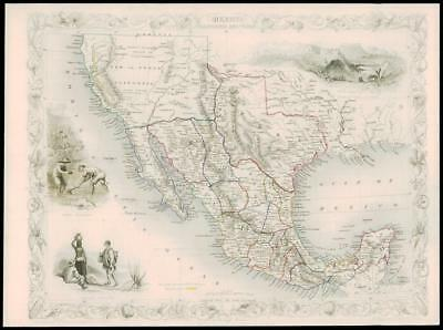 """1850 Illustrated Antique Map """"MEXICO CALIFORNIA & TEXAS"""" by TALLIS  (141d)"""